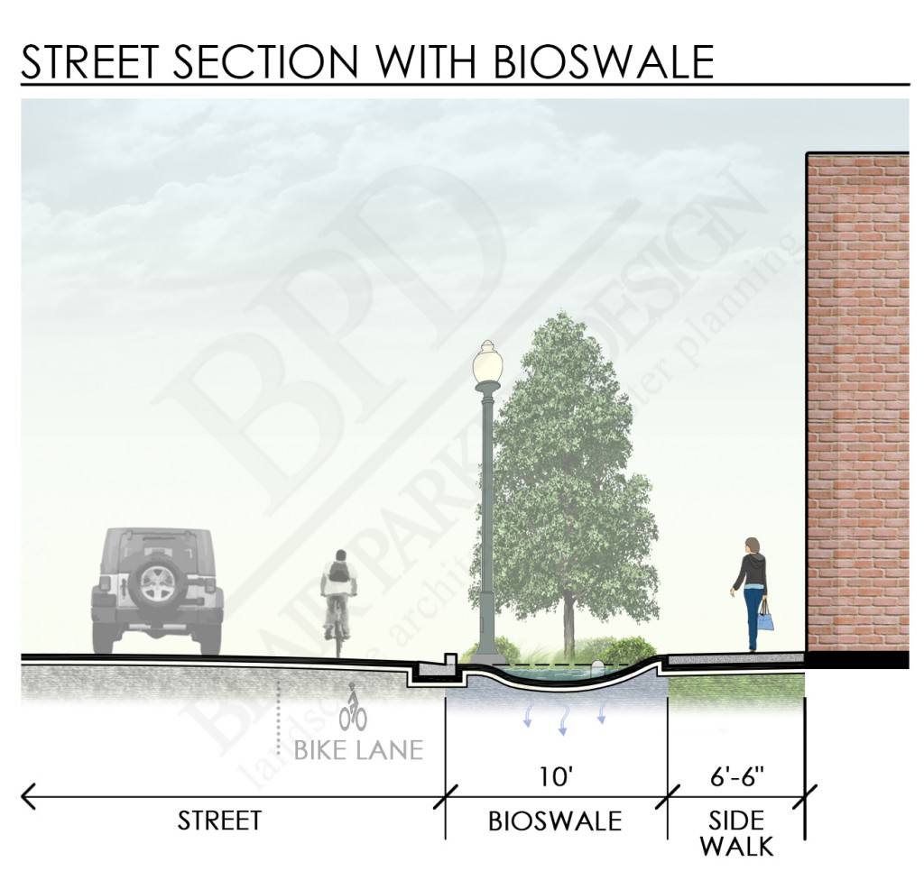 20140613 Street Section with Bioswale